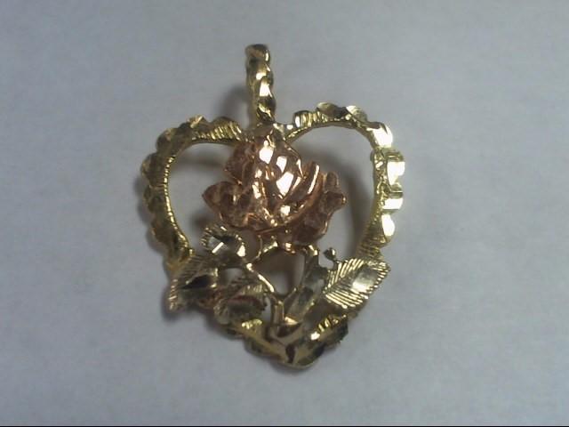 Gold HEART Pendant 14K Tri-color Gold CHARM 2.5g