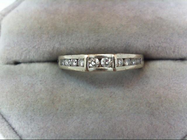 Lady's Diamond Wedding Band 10 Diamonds .32 Carat T.W. 14K White Gold 2.8g