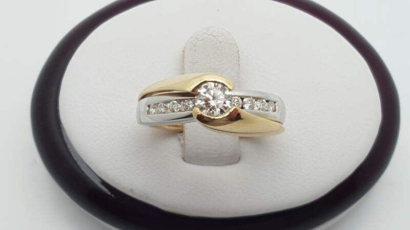 Lady's Diamond Engagement Ring 9 Diamonds .80 Carat T.W. 14K 2 Tone Gold 7.4g