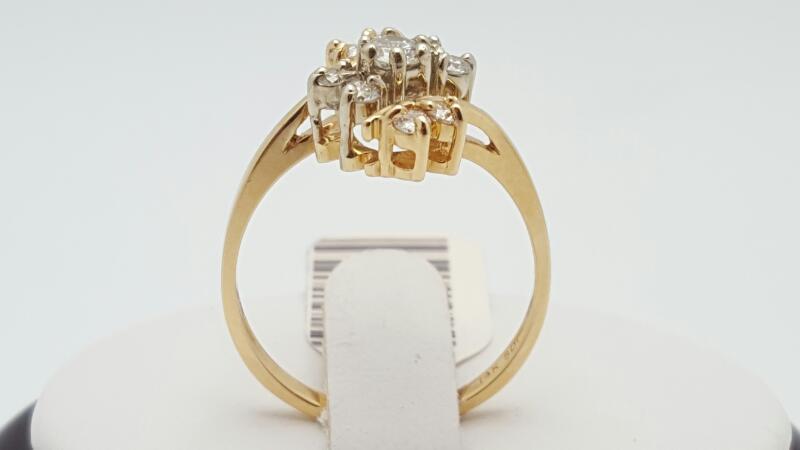 Lady's Diamond Ring 9 Diamonds .46 Carat T.W. 14K Yellow Gold 3.5g