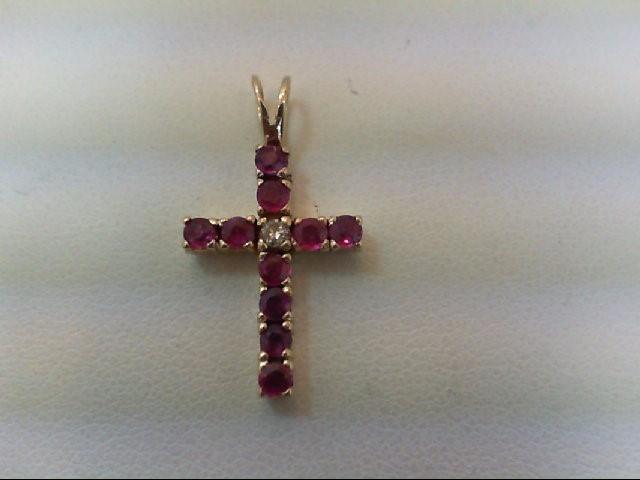 Ruby Gold-Diamond & Stone Pendant .03 CT. 14K Yellow Gold 1.2g