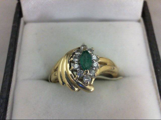 Emerald Lady's Stone & Diamond Ring 10 Diamonds 0.1 Carat T.W. 14K Yellow Gold 2