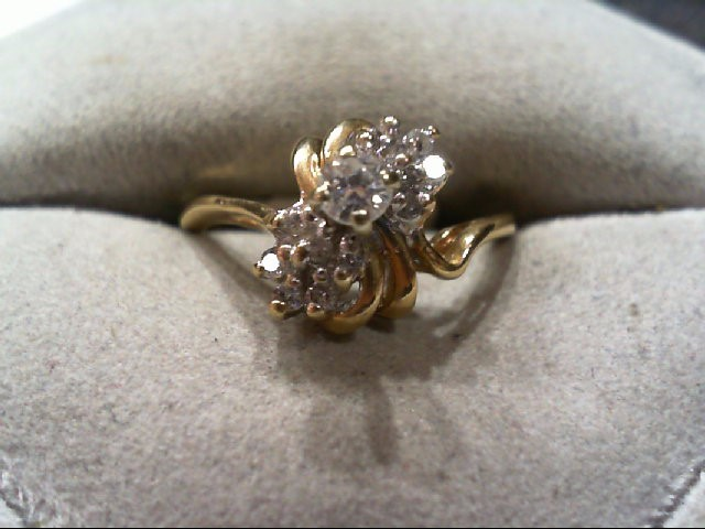 Lady's Diamond Cluster Ring 15 Diamonds .26 Carat T.W. 14K Yellow Gold 3.1g
