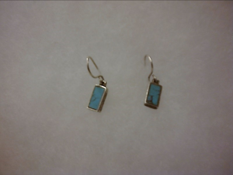 Small Rectangular Turquoise Silver Earrings 925 Silver 1.04dwt