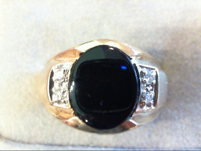 Gent's Diamond Fashion Ring 4 Diamonds .04 Carat T.W. 14K Yellow Gold 12.9g