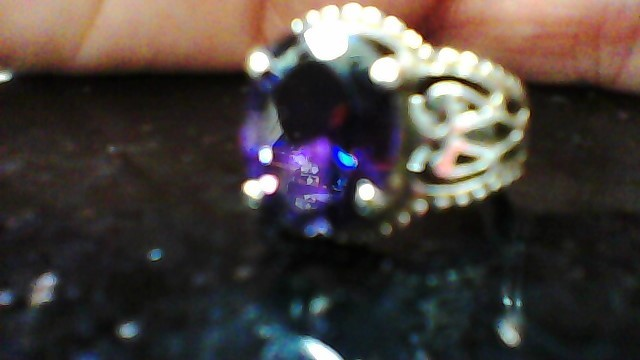 Synthetic Amethyst Lady's Silver & Stone Ring 925 Silver 4.1g