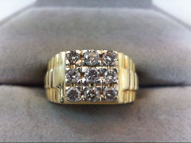 Gent's Diamond Fashion Ring 9 Diamonds .63 Carat T.W. 10K Yellow Gold 5.8g