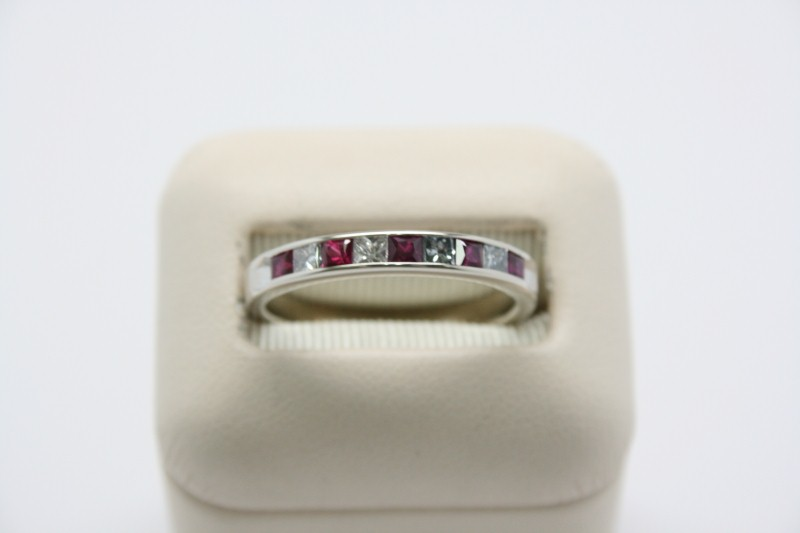 LADY'S RUBY AND DIAMOND BAND 14K WHITE GOLD