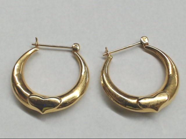 Gold Hoop Heart Earrings 14K Yellow Gold 2.1g