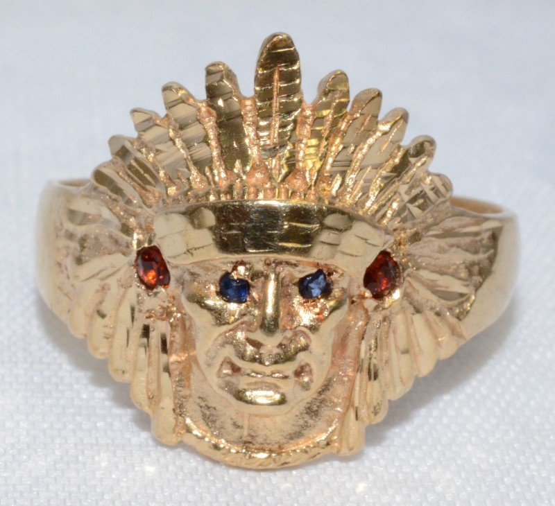 14K YELLOW GOLD INDIANA CHIEF HEADDRESS MENS RING SIZE 11