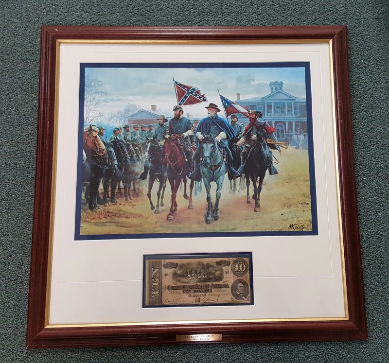 LIMITED EDITION PRINT LEDGENDS IN GRAY MORT KUNSTLER CSA $10 CONFEDERATE BANK NO