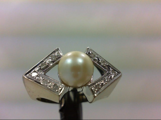 Pearl Lady's Stone & Diamond Ring 10 Diamonds 0.1 Carat T.W. 14K White Gold 6.1g