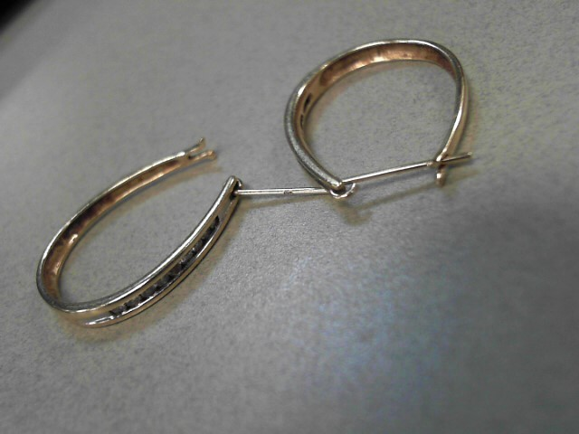 Gold-Diamond Earrings 18 Diamonds .36 Carat T.W. 14K Yellow Gold 2.94g
