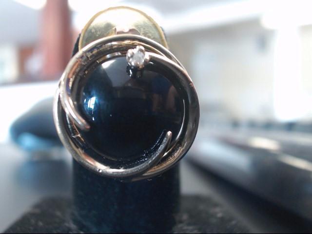 Onyx Gold-Diamond & Stone Earrings 2 Diamonds .06 Carat T.W. 14K Yellow Gold