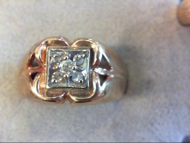 Gent's Diamond Cluster Ring 5 Diamonds .17 Carat T.W. 10K Yellow Gold 6.6g