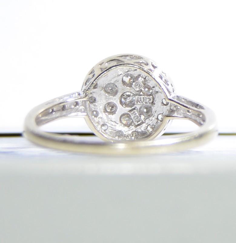 10K White Gold Diamond Halo Cluster Ring w/ Filigree Detail Size: 8