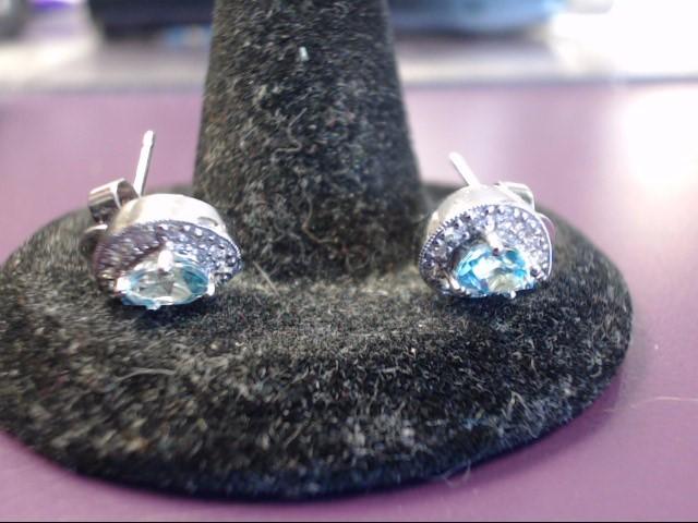 Blue Topaz Gold-Stone Earrings 14K White Gold 2.5g