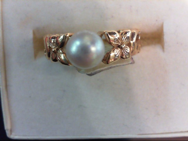 Pearl Lady's Stone Ring 14K Yellow Gold 3.3g