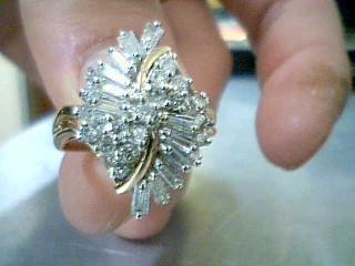 Lady's Diamond Cluster Ring 33 Diamonds 1.31 Carat T.W. 14K Yellow Gold 4.8g