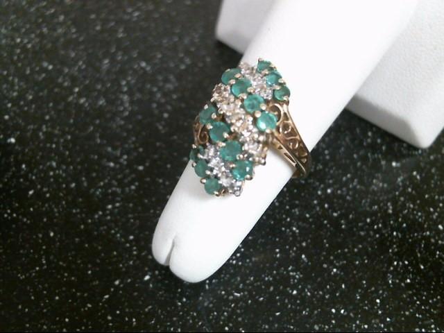 Green Stone Lady's Stone & Diamond Ring 11 Diamonds .22 Carat T.W.