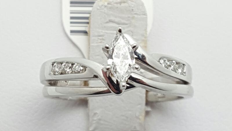 Lady's Diamond Wedding Set 7 Diamonds .34 Carat T.W. 14K White Gold 4.1g Size:6