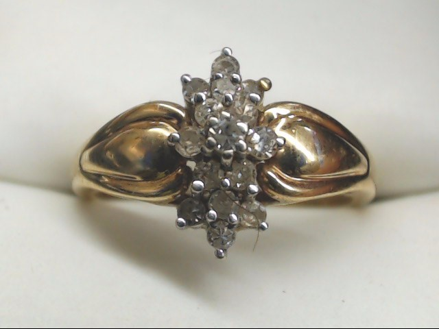 Lady's Diamond Cluster Ring 15 Diamonds .45 Carat T.W. 10K Yellow Gold 2.7g