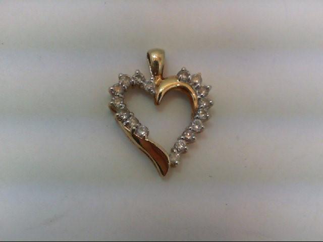 Gold-Multi-Diamond Pendant 17 Diamonds .51 Carat T.W. 10K Yellow Gold 1.8g