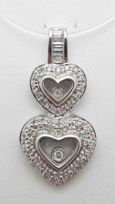 18kw Gold Double Heart Pendant 67 Diamonds .46 Carat T.W. 5.4g