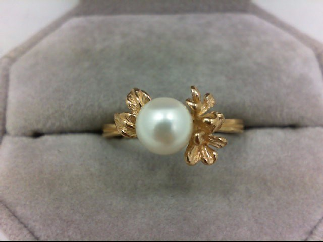 Pearl Lady's Stone Ring 14K Yellow Gold 2.8g Size:8.75