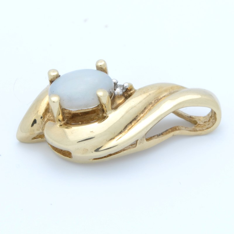 ESTATE OPAL DIAMOND PENDANT CHARM SOLID 10K YELLOW GOLD OVAL CUT