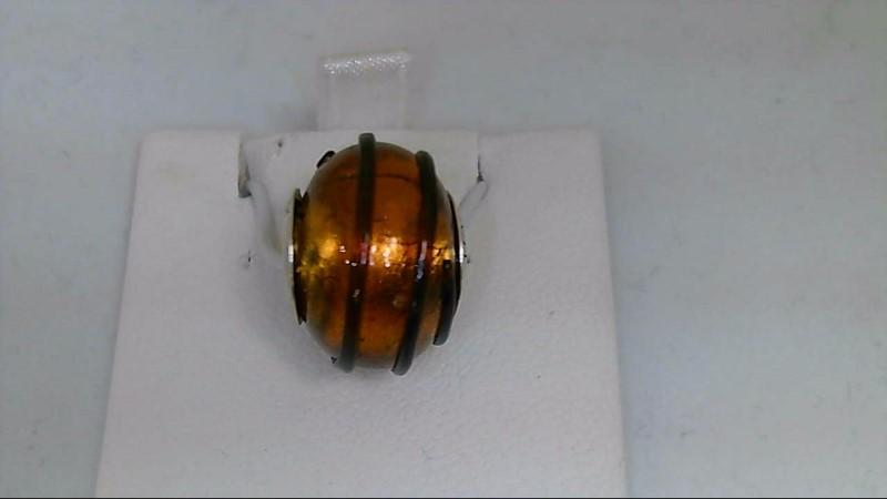 Reflections Orange and Black Murano Glass Bead 925 Silver Charm