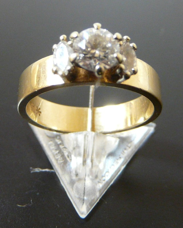 Lady's Diamond Ring 3 Diamonds .74 Carat T.W. 14K Yellow Gold 2.4dwt