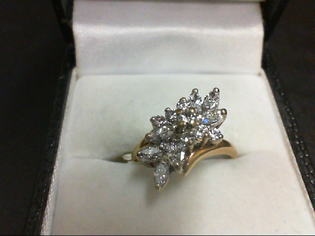 Lady's Diamond Cluster Ring 14 Diamonds 0.64 Carat T.W. 14K Yellow Gold 3.6g