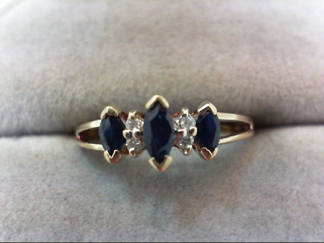 Sapphire Lady's Stone & Diamond Ring 4 Diamonds .04 Carat T.W. 10K Yellow Gold