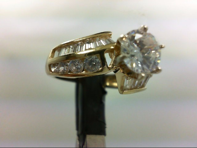 Cubic Zirconia Lady's Stone Ring 14K Yellow Gold 4.6g Size:6