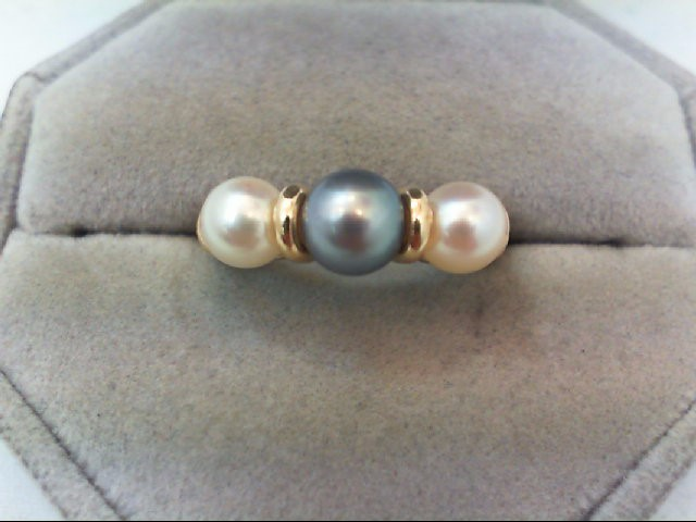 Pearl Lady's Stone Ring 14K Yellow Gold 3.9g