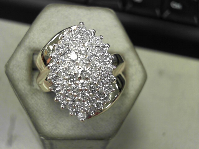 Lady's Diamond Cluster Ring 53 Diamonds 2.12 Carat T.W. 14K Yellow Gold 10g