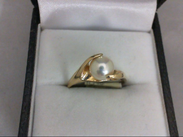 Pearl Lady's Stone Ring 14K Yellow Gold 2.5g