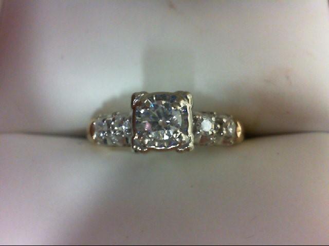 Lady's Diamond Engagement Ring 5 Diamonds .35 Carat T.W. 14K 2 Tone Gold 3g