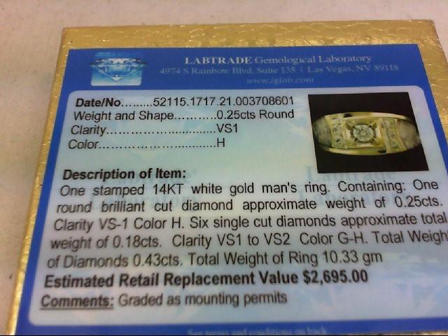 Gent's Diamond Fashion Ring 7 Diamonds .43 Carat T.W. 14K White Gold 10.33g