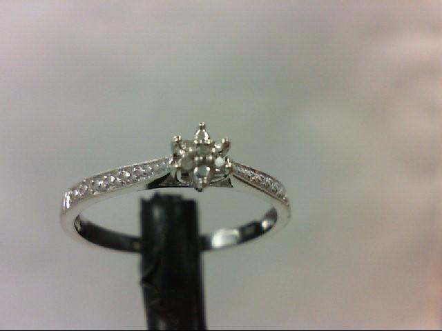 Lady's Diamond Engagement Ring 5 Diamonds 0.05 Carat T.W. 10K White Gold 1.5g
