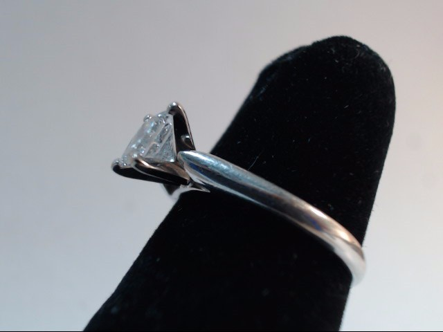 Lady's Diamond Solitaire Ring .71 CT. 14K White Gold 2.7g Size:5.3