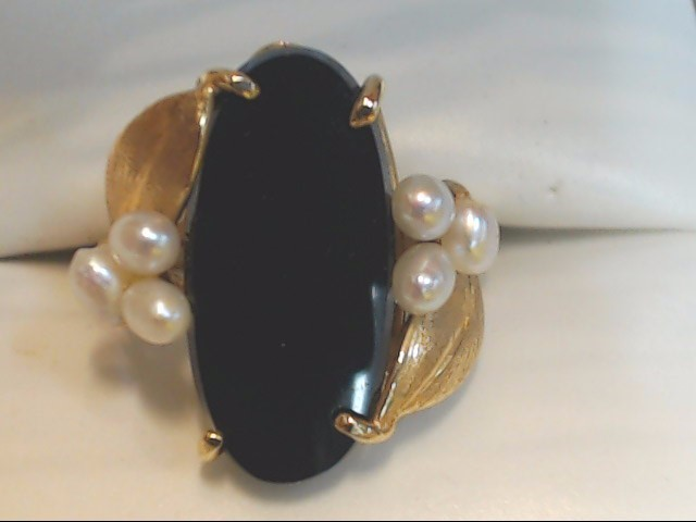 Black Stone Lady's Stone Ring 14K Yellow Gold 4.6g Size:6.5