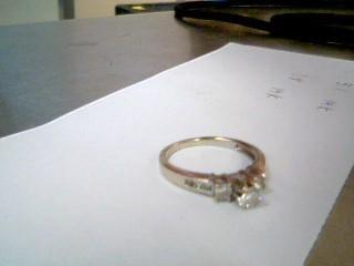 Lady's Diamond Engagement Ring 9 Diamonds .52 Carat T.W. 14K White Gold 3.1g