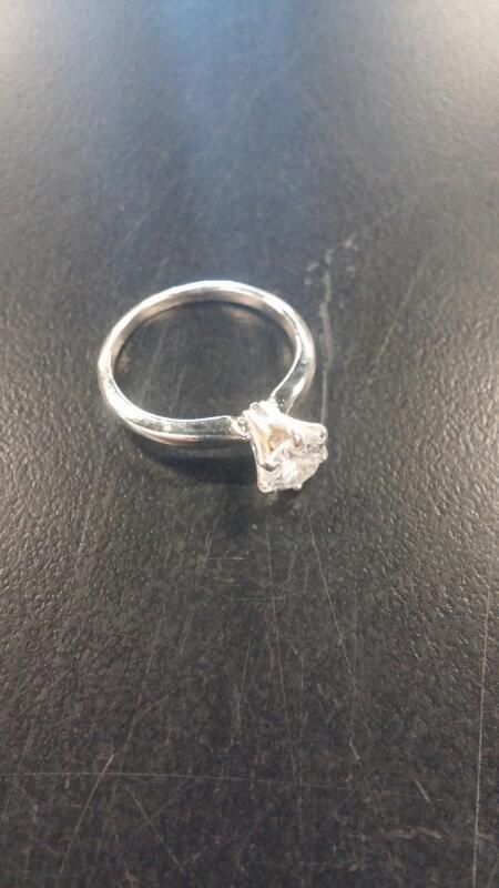 Lady's Diamond Solitaire Ring .64 CT. 14K White Gold 1.5dwt