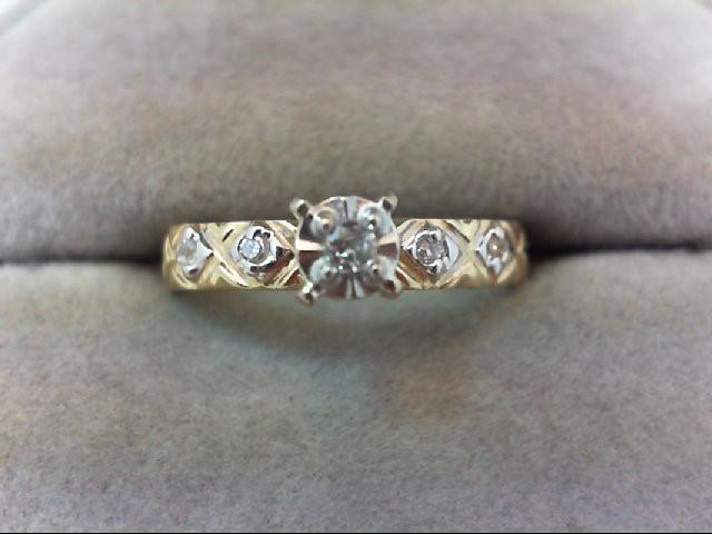 Lady's Diamond Engagement Ring 5 Diamonds .09 Carat T.W. 14K Yellow Gold 2.3g