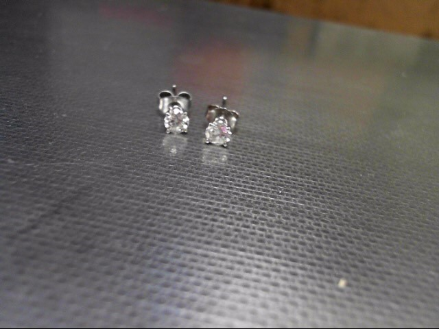Gold-Diamond Earrings 2 Diamonds .46 Carat T.W. 14K White Gold 0.6g