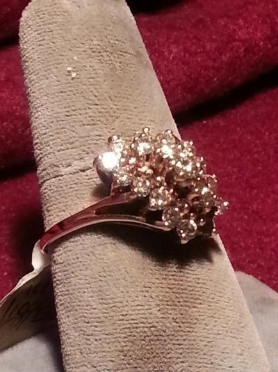Lady's Diamond Cluster Ring 19 Diamonds 1.18 Carat T.W. 10K Yellow Gold 2.7dwt