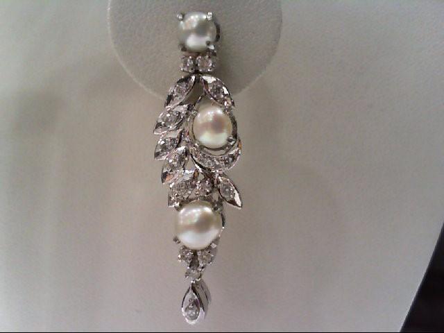 Pearl Silver-Diamond & Stone Earrings 36 Diamonds .44 Carat T.W. 925 Silver