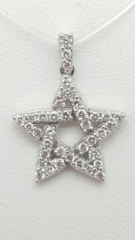 Gold-Multi-Diamond Pendant 40 Diamonds .58 Carat T.W. 18K White Gold 2.5g